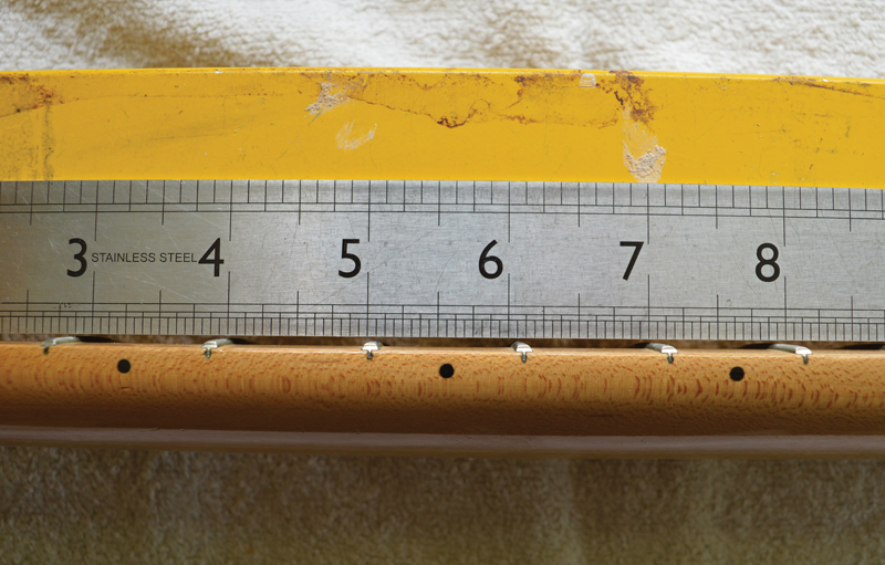 diy workshop tele renovation guitar com all things guitar a metal ruler was placed onto the frets to assess the extent of the up bow and identify the deepest point in this case the gap was widest around the