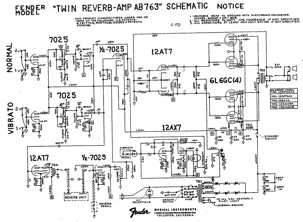 twin_reverb_ab763_schem Fender Deluxe Reverb Schematic Diagram on