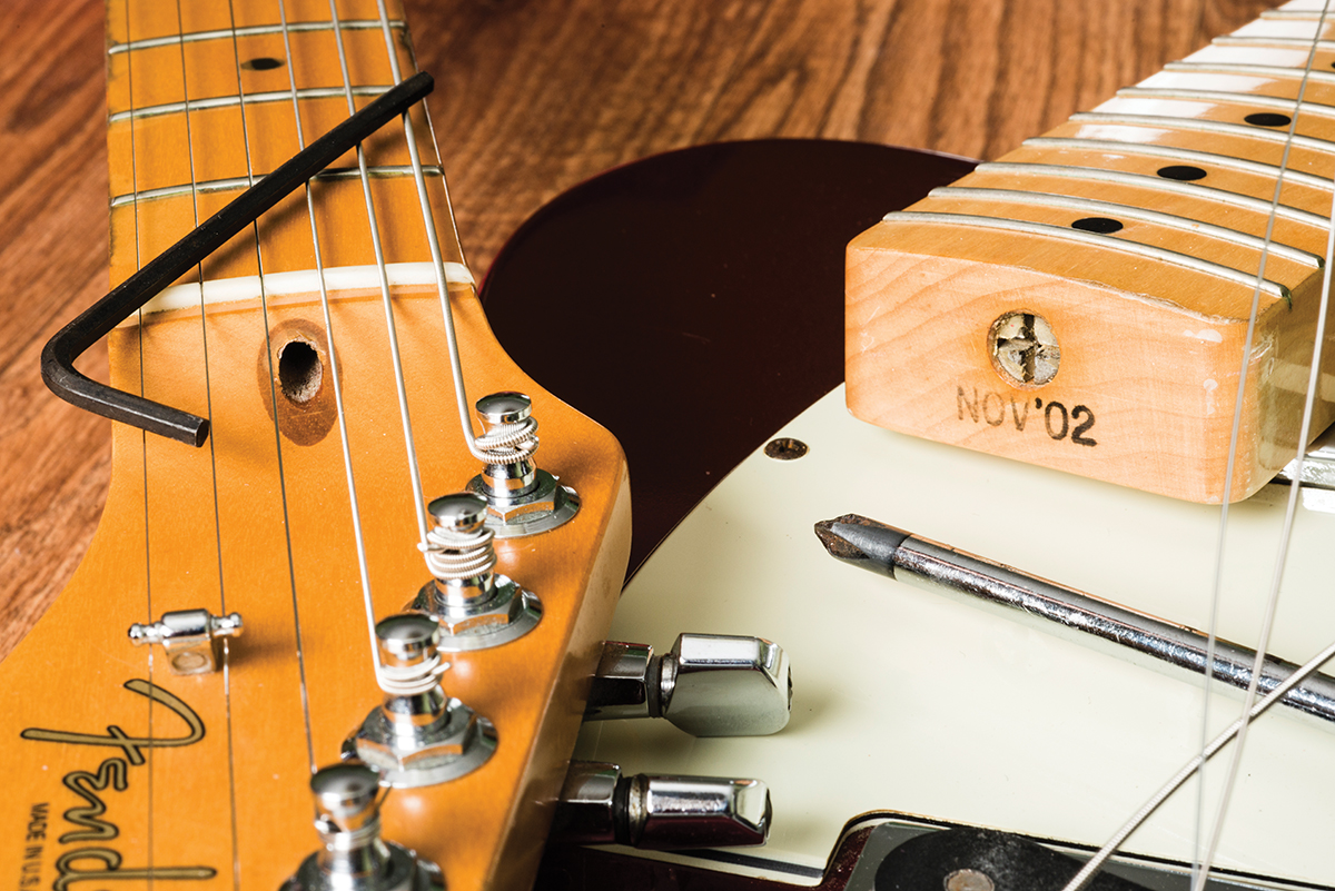 Guitar Diy Tips A Guide To Routine Maintenance All Fender Telecaster Thinline Wiring Diagram Truss Rod Access Can Be Found At The Headstock And Heel Ends Of Necks Usa On Left Is Adjusted Using An Allen Key Reissue
