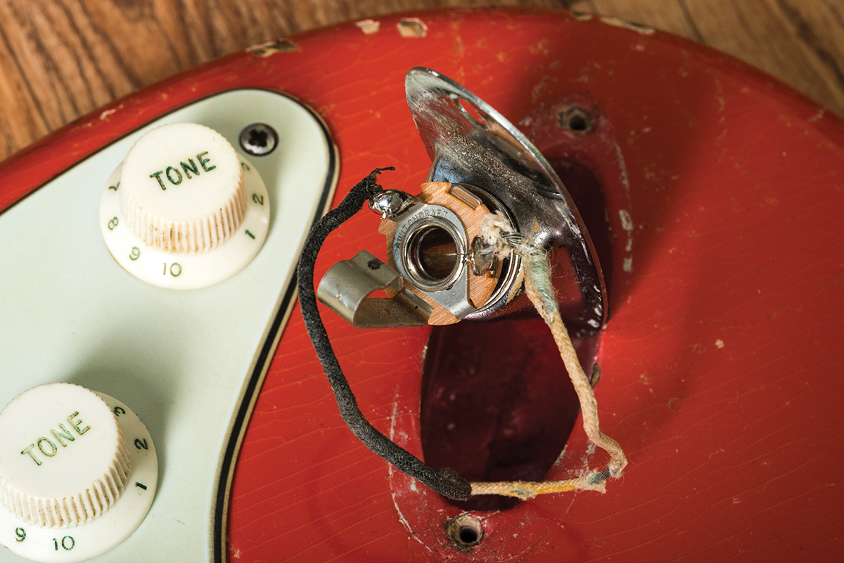 Guitar Diy Tips A Guide To Routine Maintenance All Jack Socket Wiring Diagram This Traditional Has Two Solder Tags The Black Wire Is Soldered Sleeve And You Can See That Its Connected Centre Of