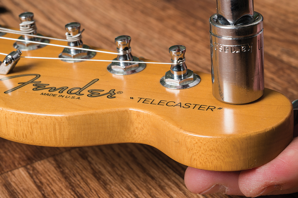 Guitar Diy Tips A Guide To Routine Maintenance All Notes On Neck Diagram Car Tuning Clasp The Tuner Onto Headstock With Of Your Strings Removed Find Correct Sized Socket From Set And Tighten Bushings