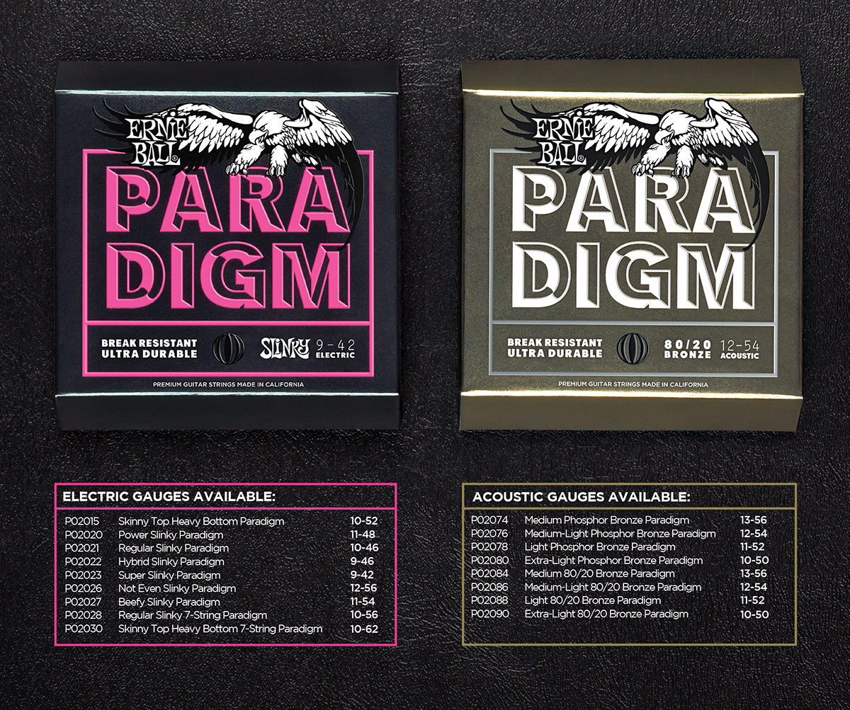 namm 2017 ernie ball 39 revolutionises 39 guitar strings with paradigm the guitar magazine. Black Bedroom Furniture Sets. Home Design Ideas