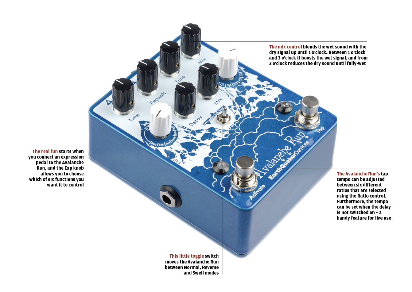 The 20 Best Fx Pedals In World Today Guitar Magazine Selector Switch Wiring Diagram Pedal Expanding On Earthquaker Devices Template For Popular Dispatch Master Avalanche Run Is An Easy To Use Combined Delay And Reverb Machine With A