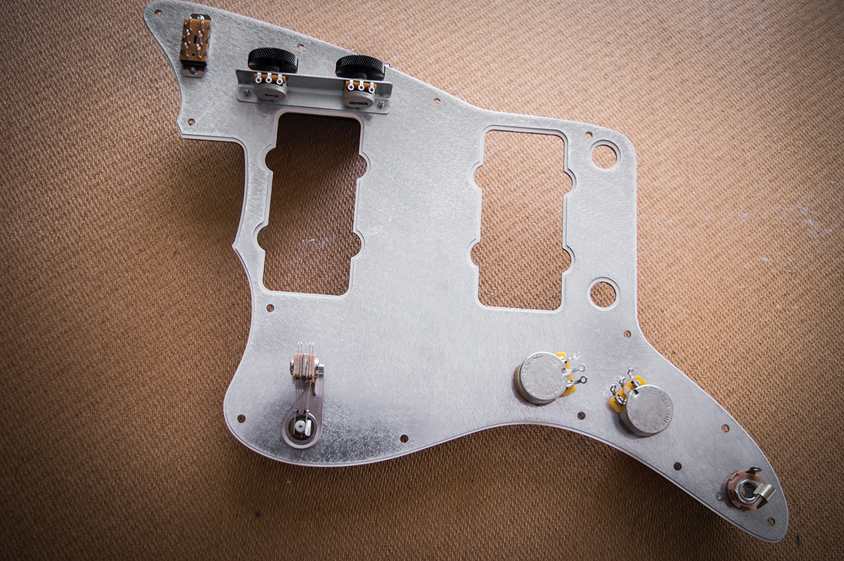 Diy Workshop Jazzmaster Bridge Wiring Upgrades Telecaster Series Diagram However There Are Some Oversized Holes Around The Tone Circuit Switch And Controls So I Add Copper Foil Patches Cut Out Using A Craft
