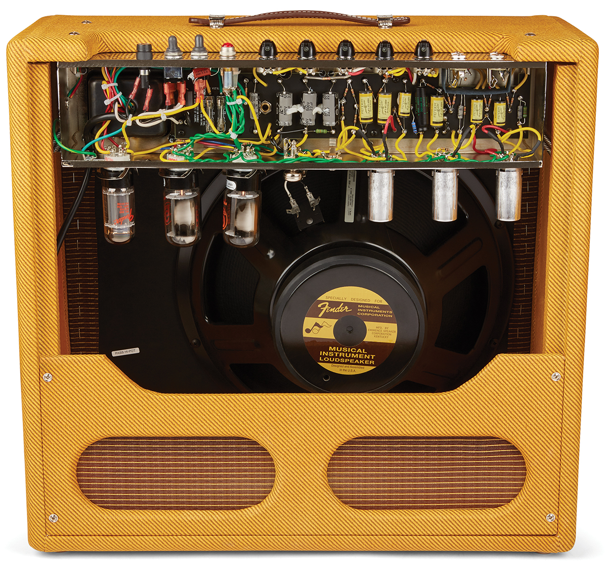 Fender 57 Custom Pro Amp The Guitar Magazine 1950s Fuse Box Vintage Examples Shipped With A Jensen Alnico P15n But This Was Often Changed For Jbl In Common Victorias Narrow Panel