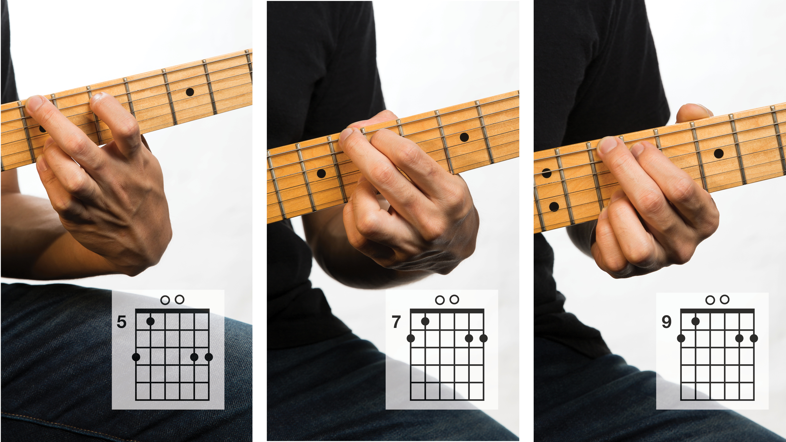 Modified B minor, modified C major and modified D major chords