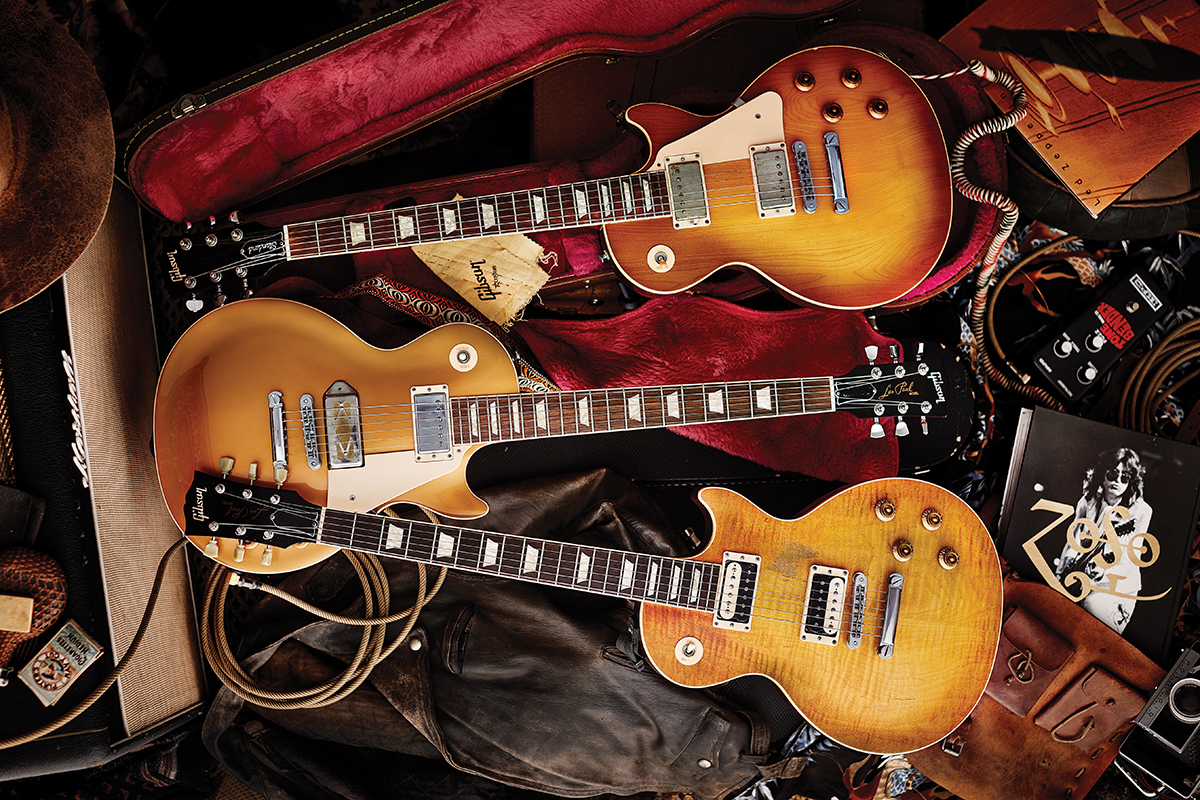 2005 Faded, a mid-2000s Goldtop with Mojo P-90 Gold Foil in the bridge, and mid-90s Plaintop with Tru-Clone PAFs Gibson LEs Paul