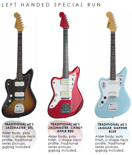 Fender announce offset left-handed specials