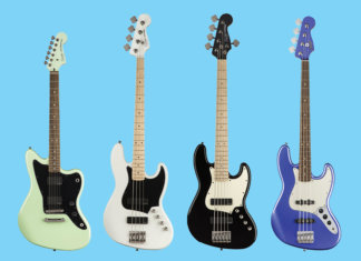 Squier Contemporary Active Jazzmaster HH ST, Contemporary Active Jazz Bass HH, Contemporary Active Jazz Bass HH V, and Contemporary Jazz Bass