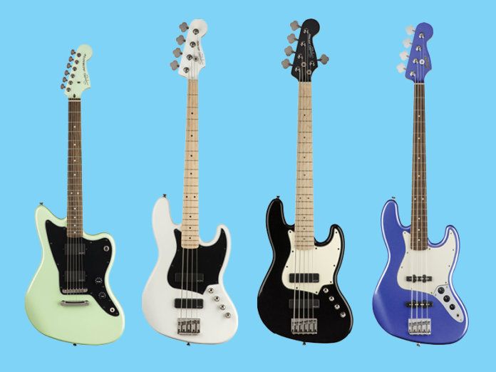 Squier Contemporary Active Jazzmaster HH ST, Contemporary Active Jazz Bass HH, Contemporary Active Jazz Bass HH V, and Contemporary Jazz Bass