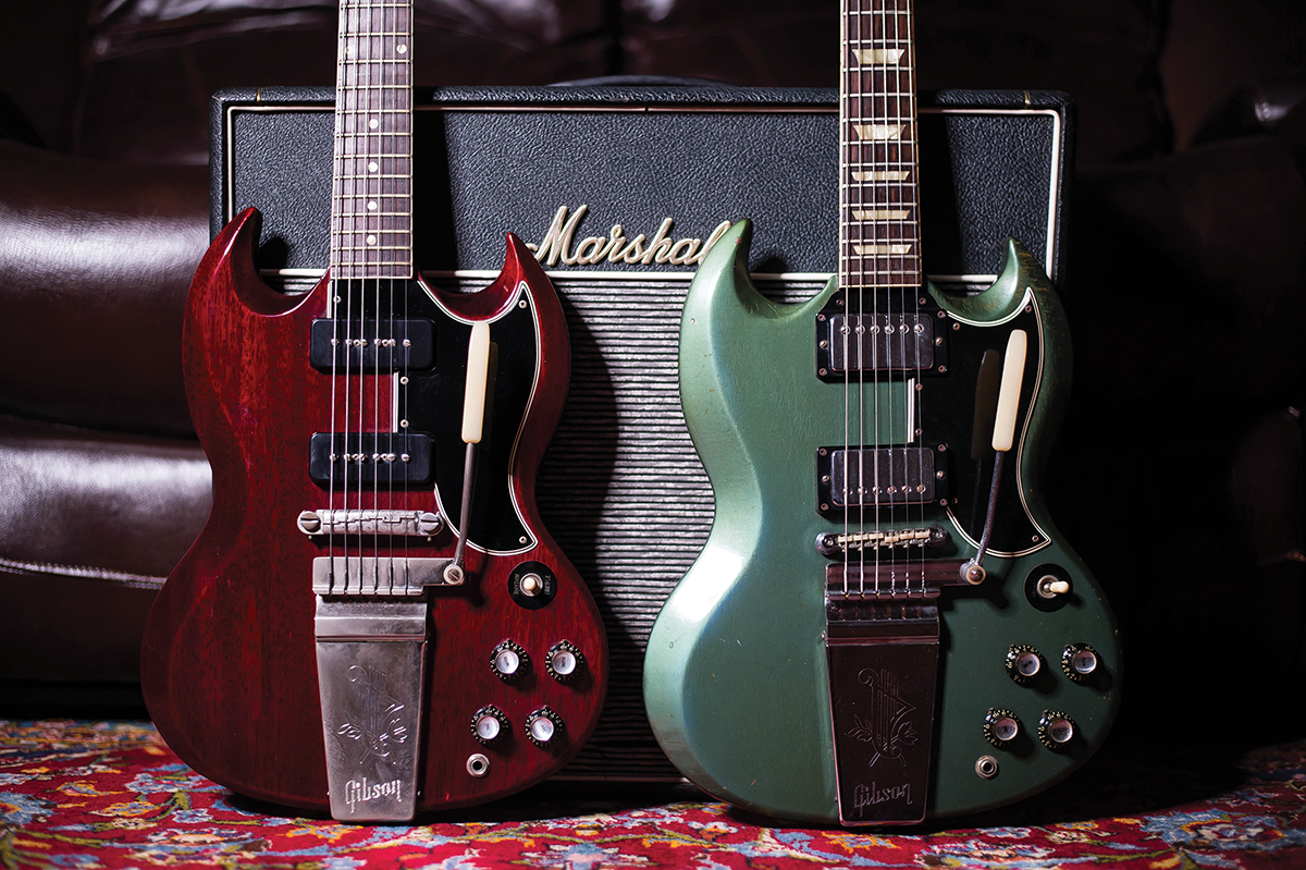1963 SG Special with factory-fitted Lyre tailpiece, and 1965 Pelham Blue SG Standard