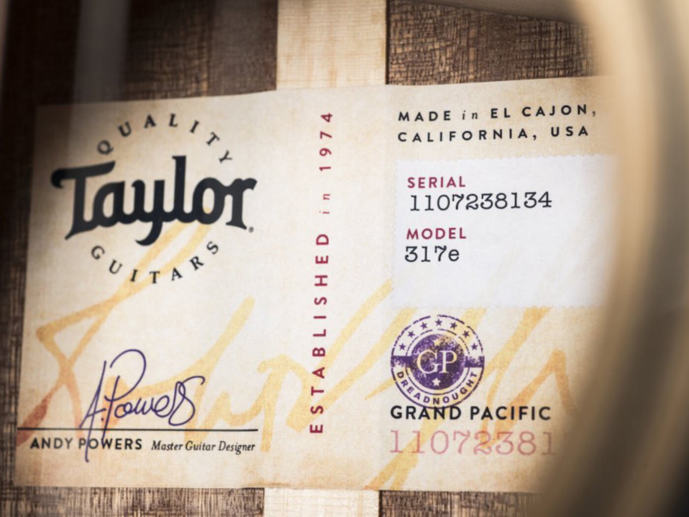 Andy Powers Taylor V-class label
