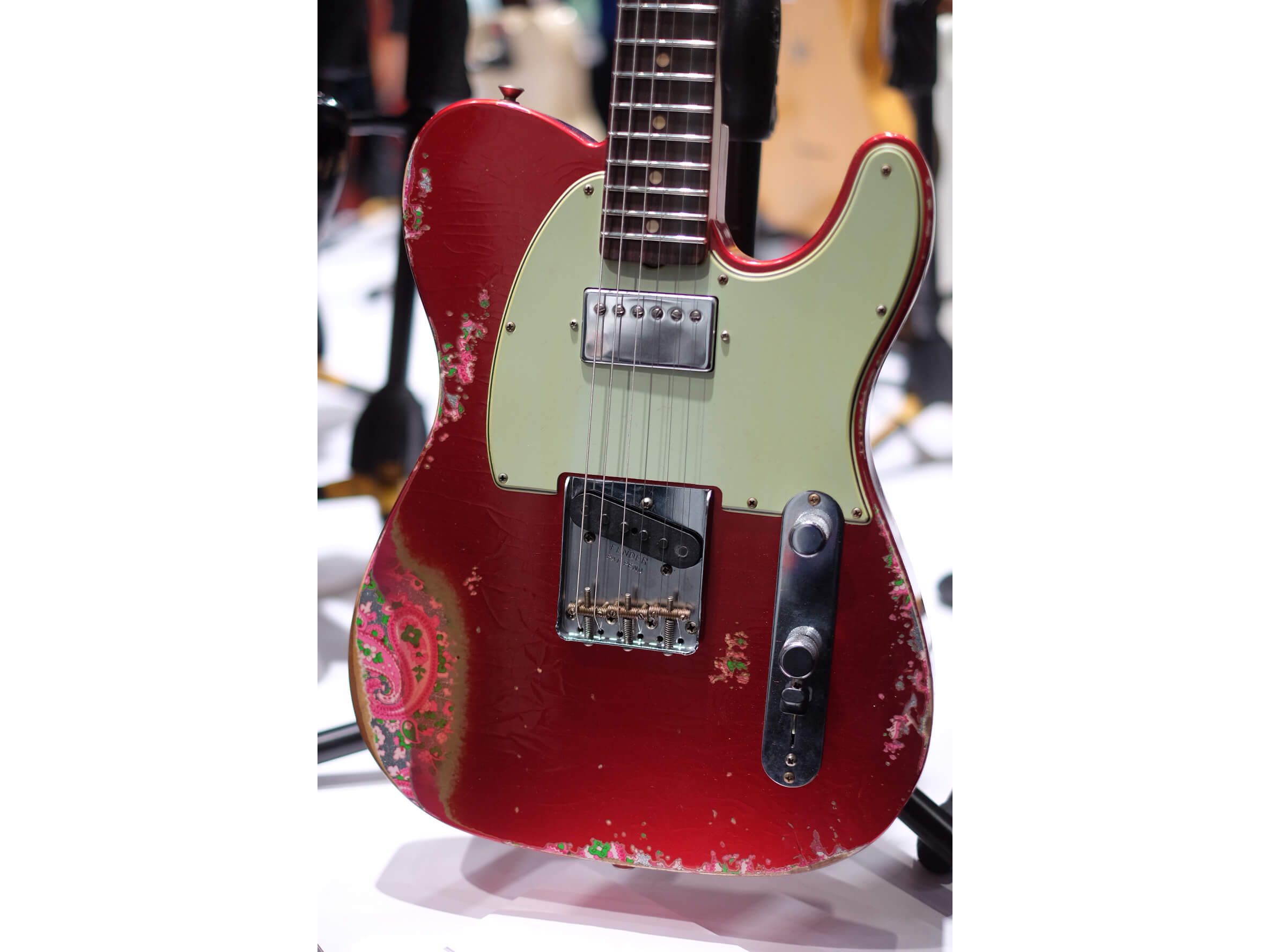 60's HS Tele Heavy Relic, Aged Candy Apple Red Over Pink Paisley