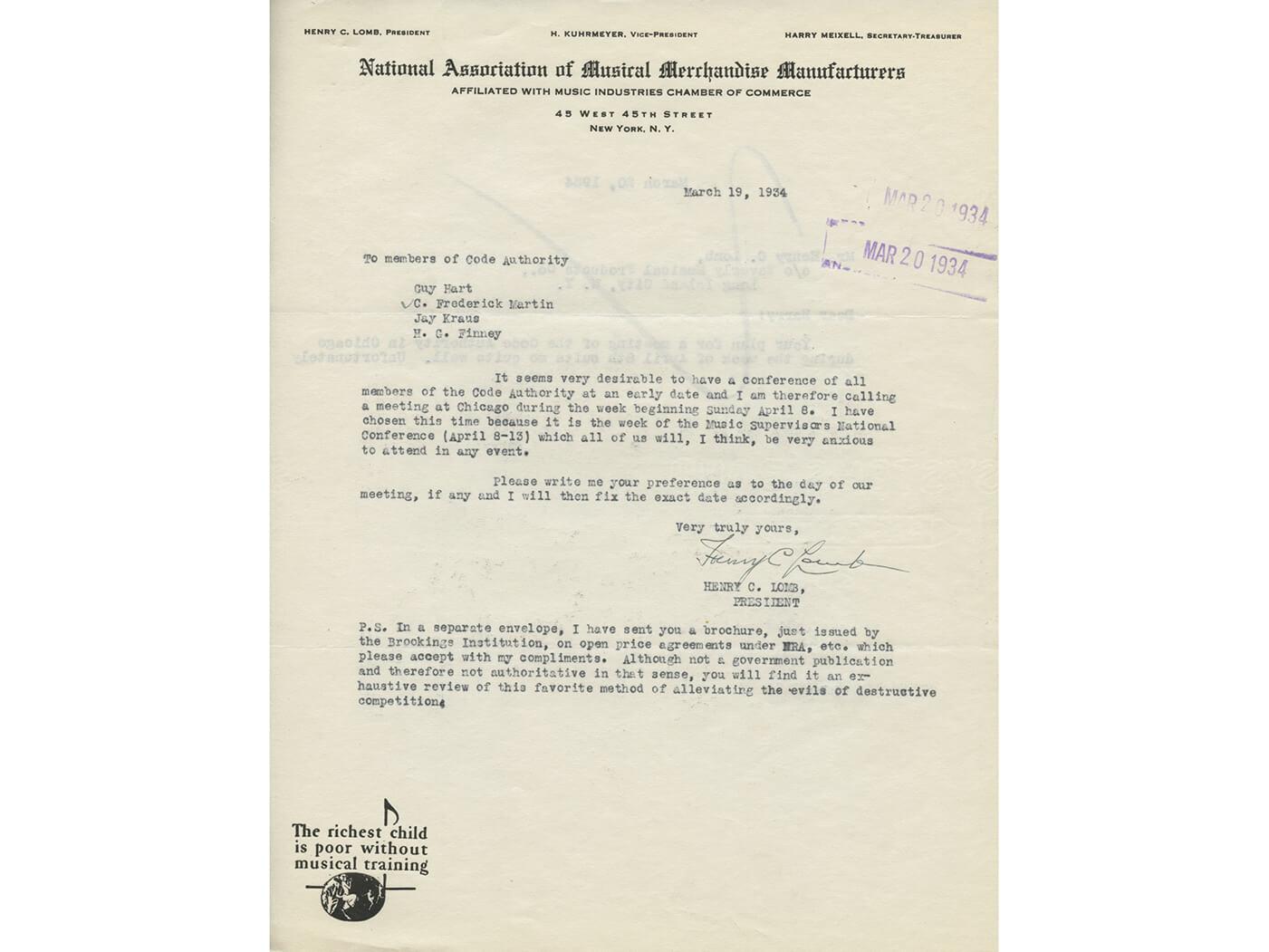 NAMM History Letter