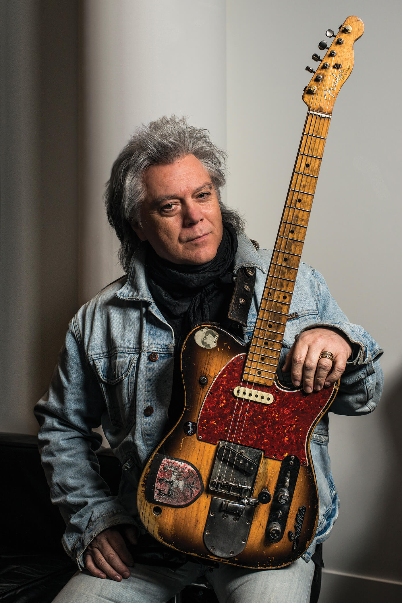 Marty Stuart Clarence White Telecaster holding guitar