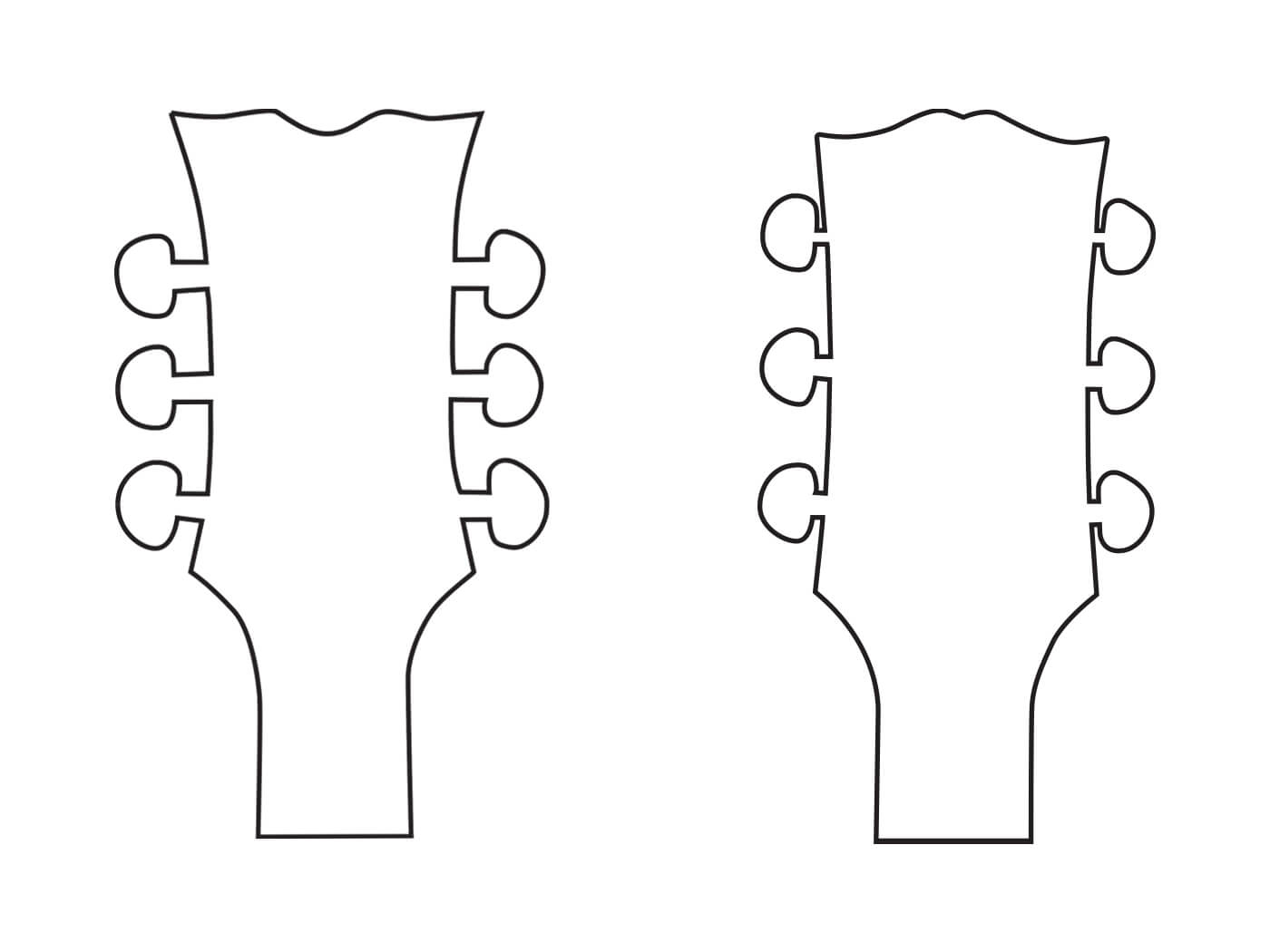 The Dean headstock design and Gibson headstock design