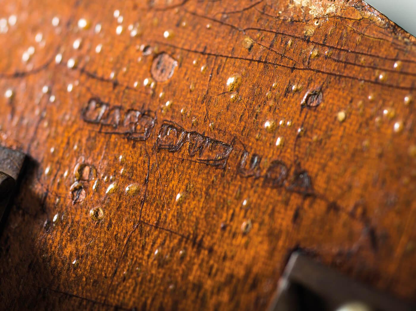 Kalamazoo KG-14 back of headstock engraving