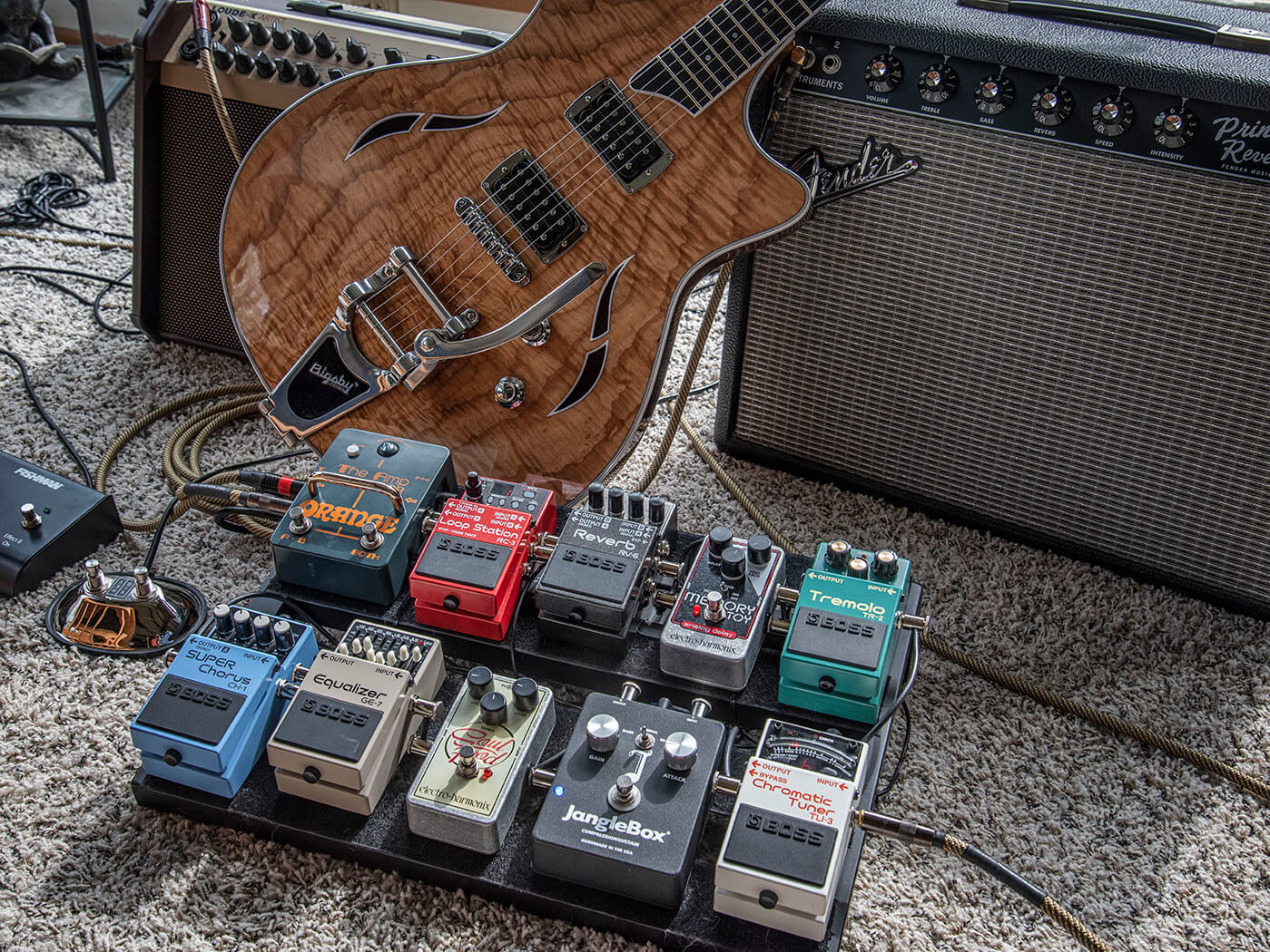 Mitchell Strauss pedalboard angled style shot against taylor guitar