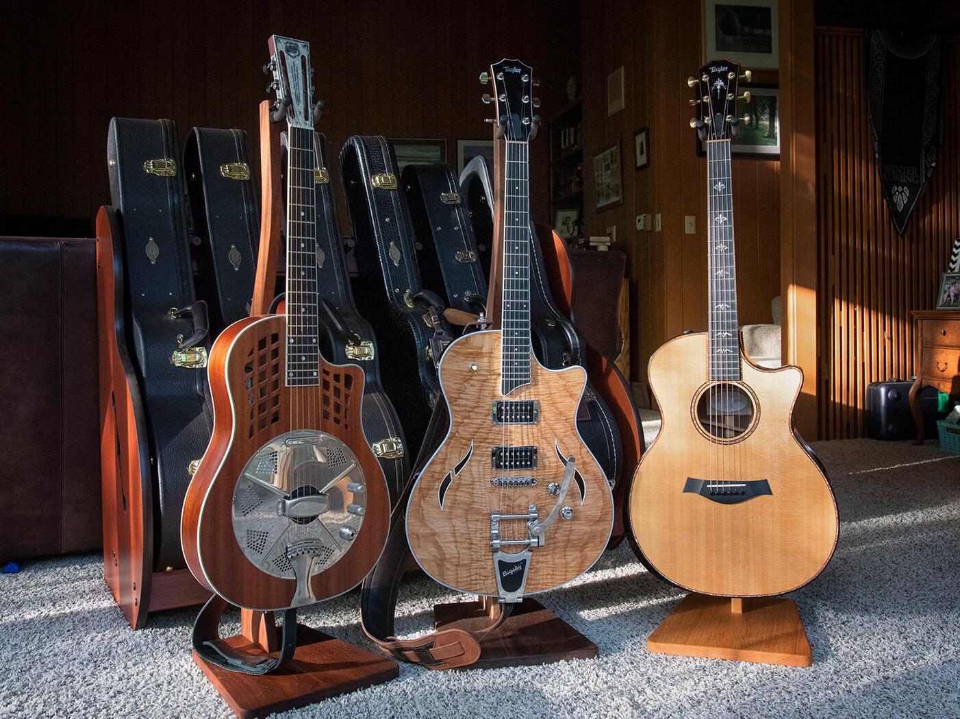 Mitchell Strauss three guitars lined up