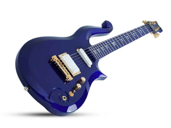Schecter Prince Cloud replica blue finish angled shot