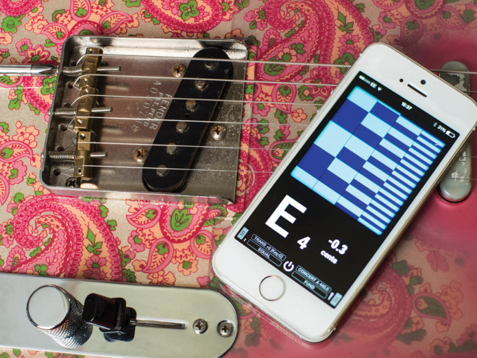 Adjusting intonation with strobe tuner app