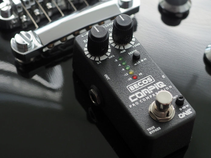 Becos Effects CompIQ Mini One Pro Compressor on a guitar