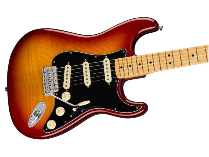 Fender Rarities Flame Ash Top Stratocaster angled