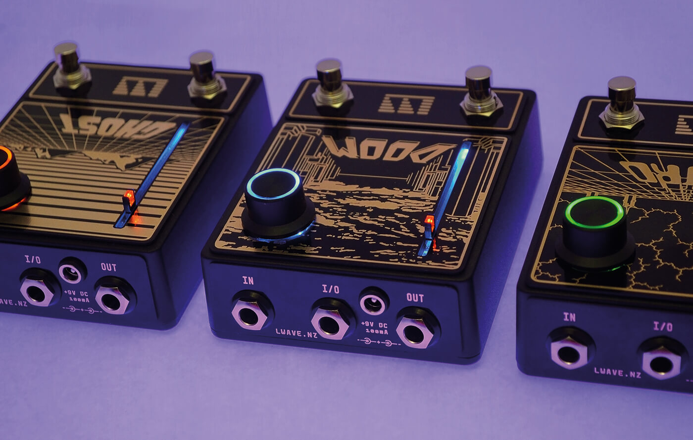 Lightning Wave Ghost Doom Astro pedals lined up top shot