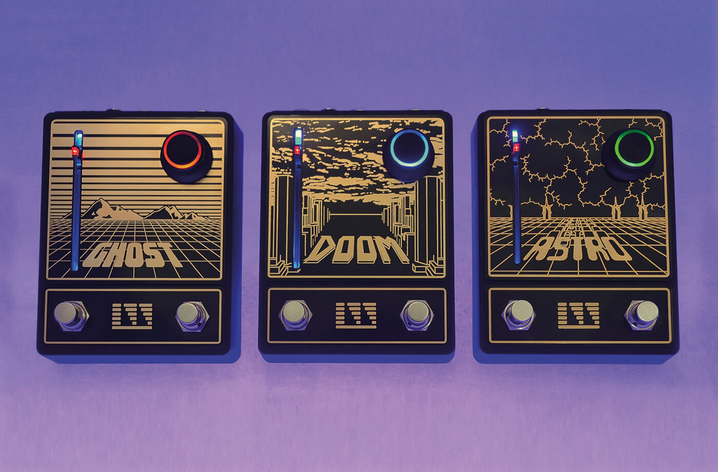 Lightning Wave Ghost Doom Astro pedals lined up