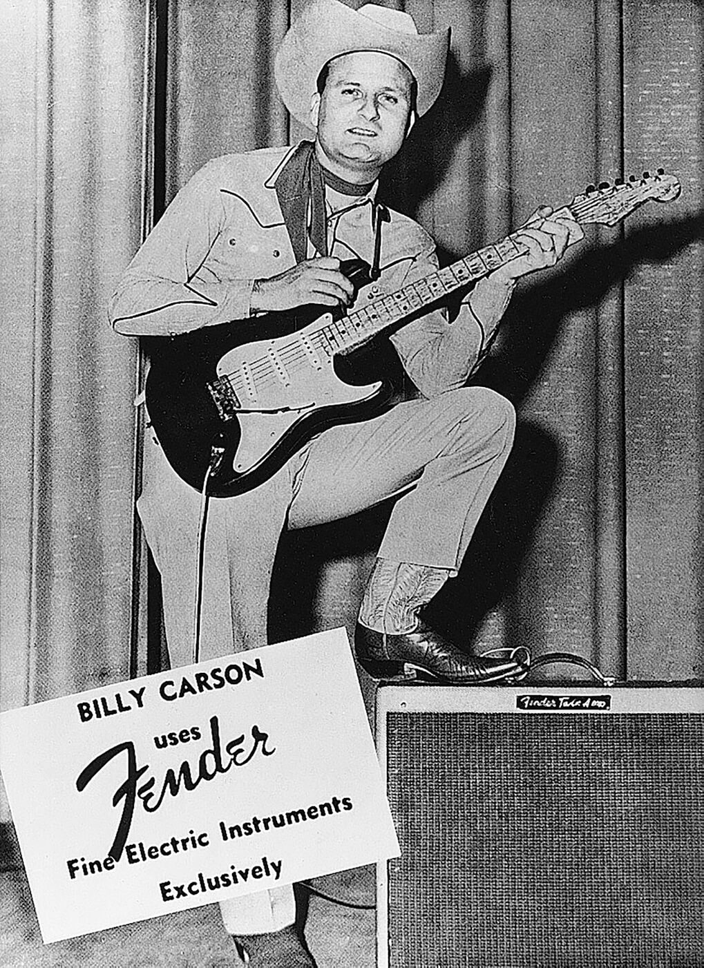 Bill Carson advert for Fender Stratocaster