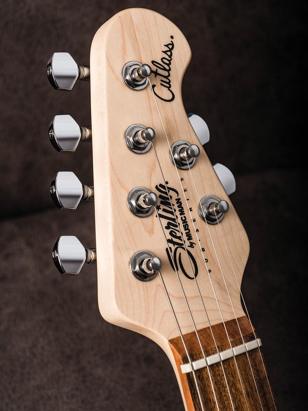 Sterling By Music Man Cutlass SSS & HSS headstock