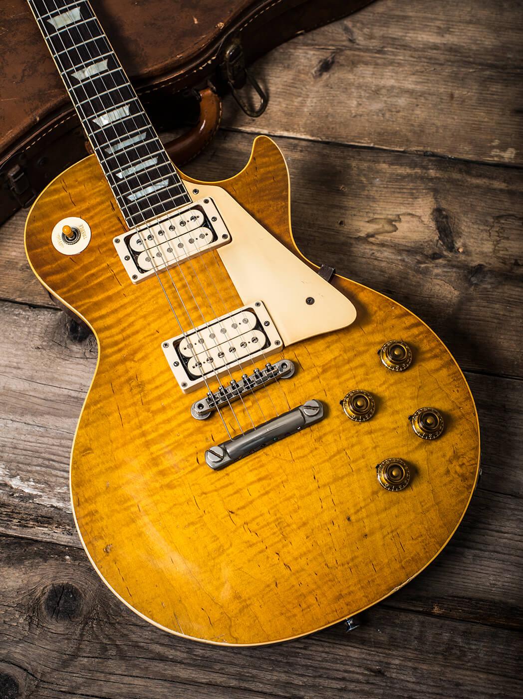 Gary Richrath 1959 Gibson Les Paul top shot portrait wooden floor