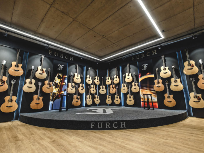 Furch showroom of acoustic guitars