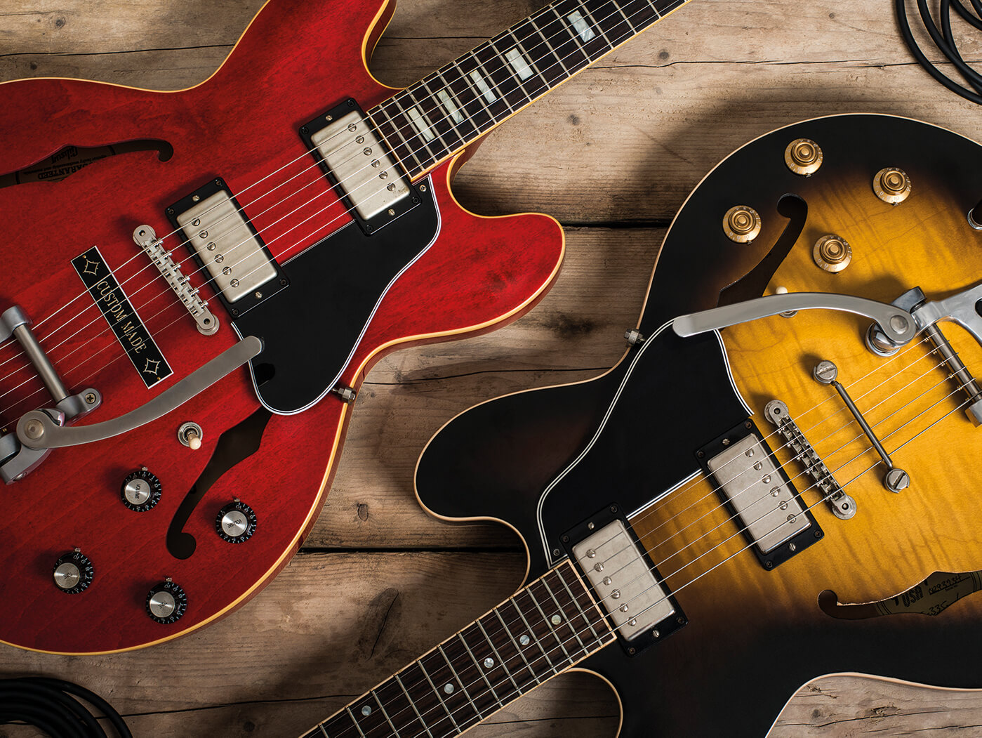 Pair of Gibson ES-335 side by side
