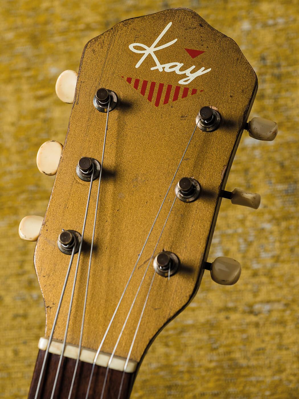 1950s kay archtop two door cinema club Matts Guitar Shop headstock portrait