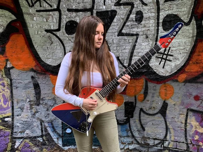 Arielle with prototype Brian May guitar