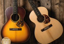dearnaley natural and sunburst acoustic guitar