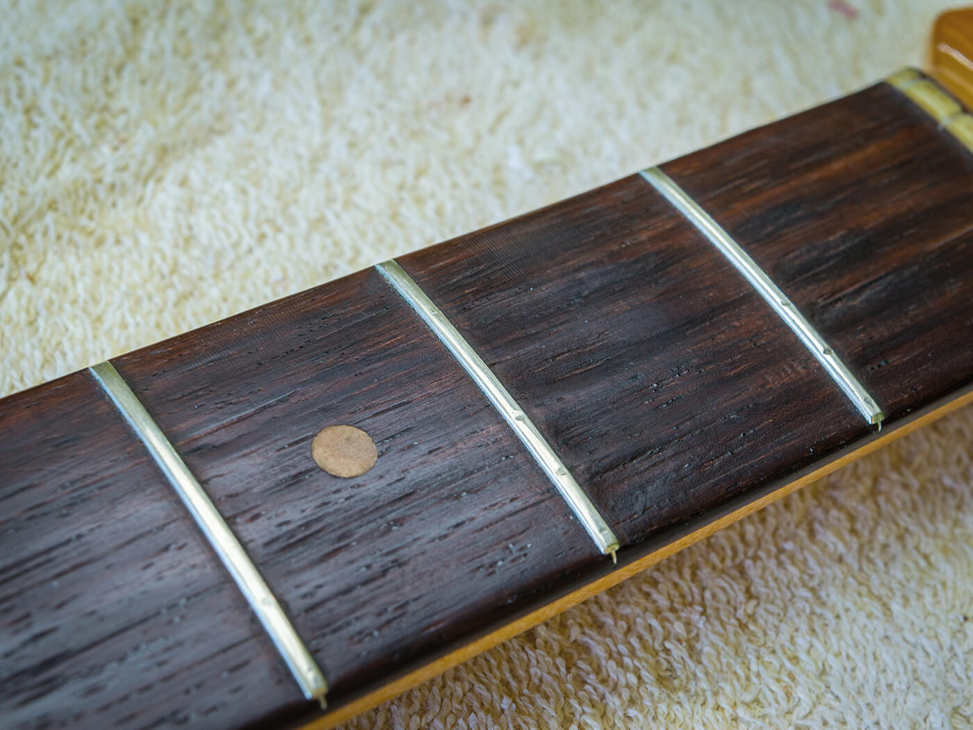 DIY Refret Fender Strat neck before shot