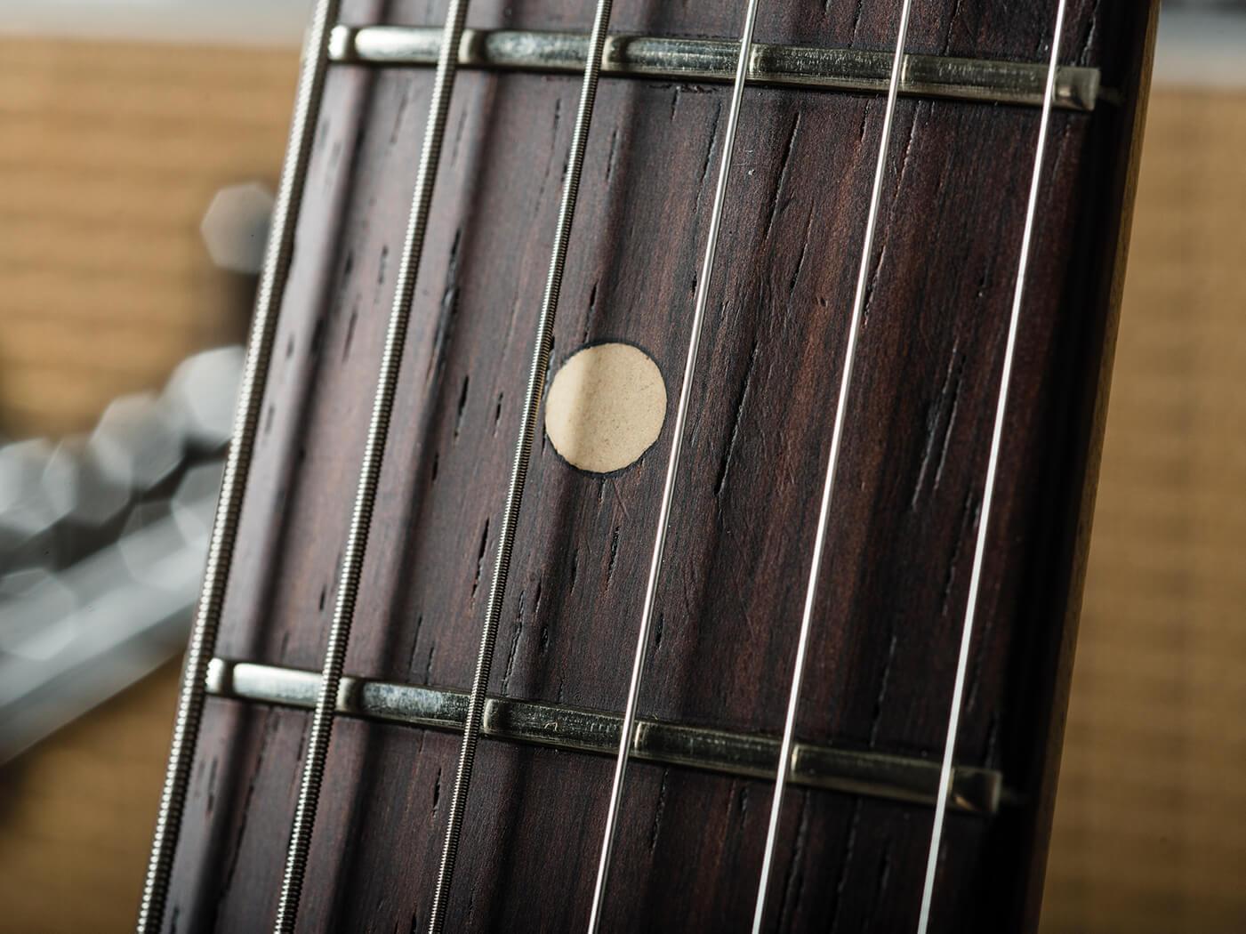 Fender Pre-CBS Fiesta Red Strat fingerboard close-up