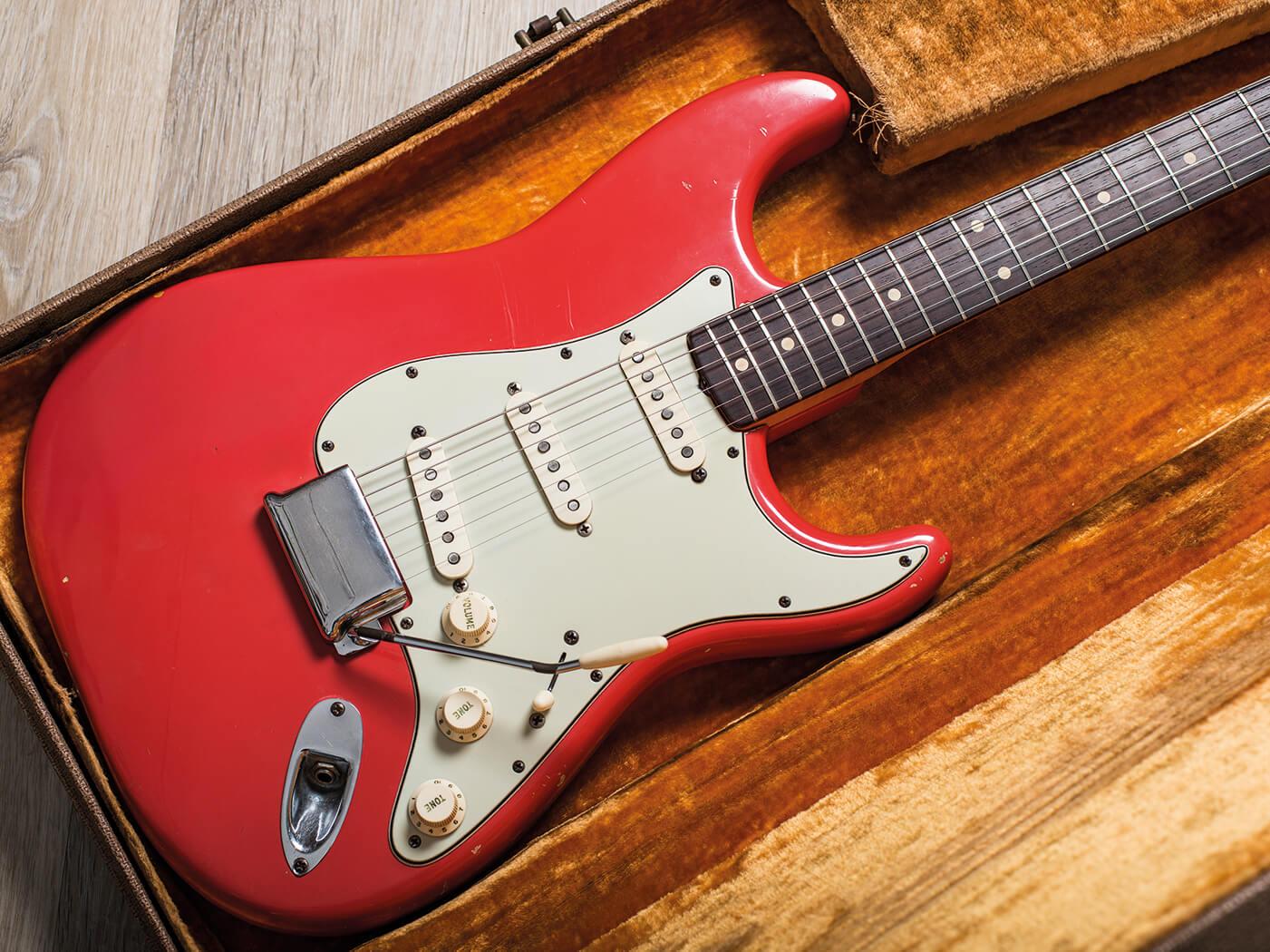 Fender Pre-CBS Fiesta Red Strat in case