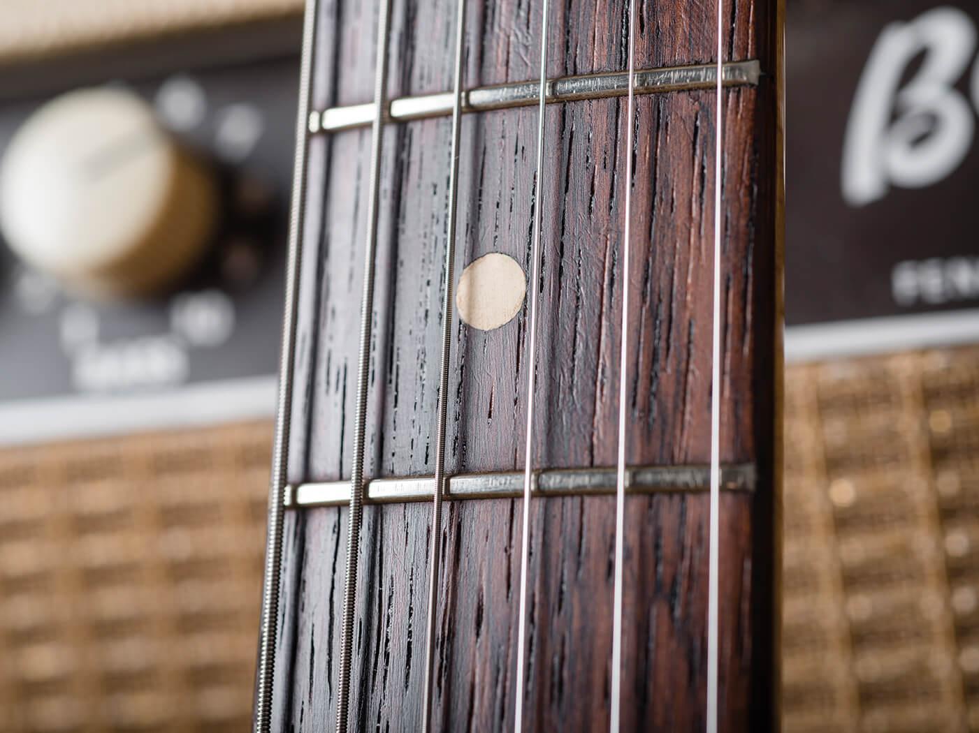 Fender Pre-CBS Surf Green Strat fingerboard close up