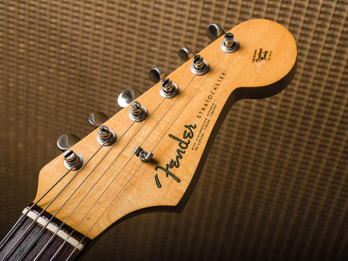 Fender Pre-CBS Surf Green Strat headstock worn decal