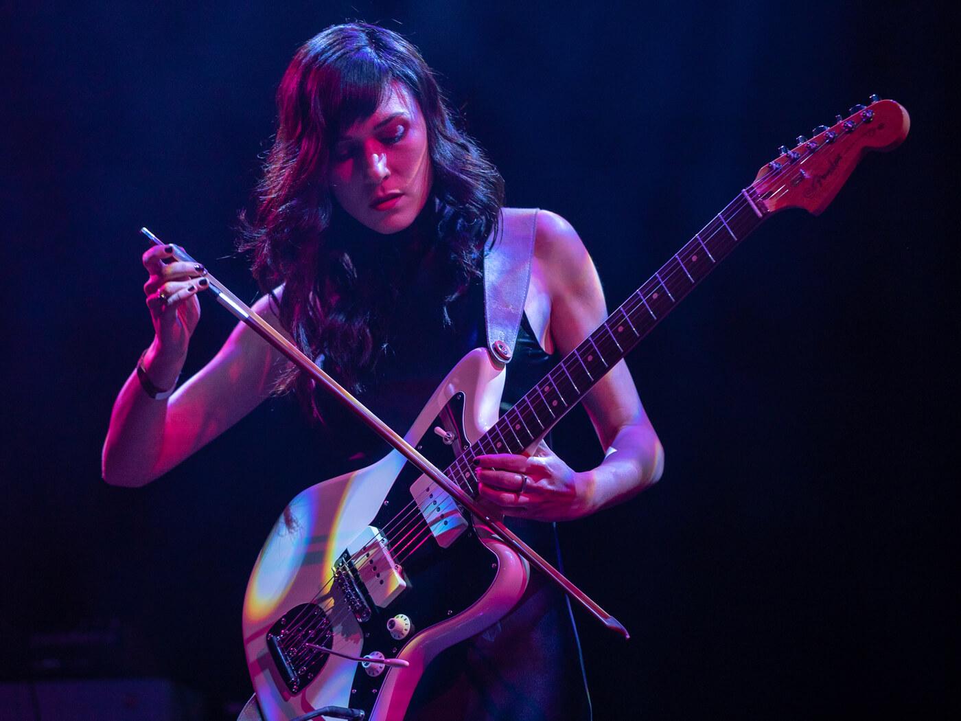 Noveller Sarah Lipstate bowing guitar