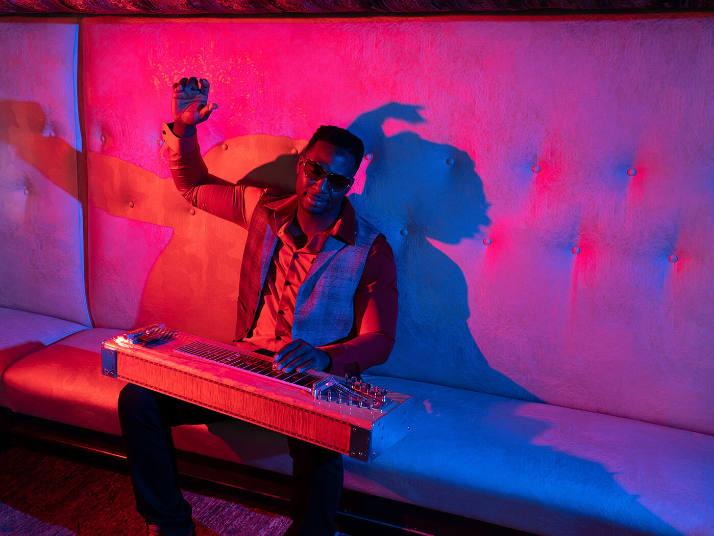 Robert Randolph with lap steel in a club