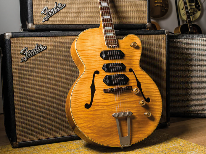T-Bone Walker Gibson 1949 ES-5 style shot pictured against Fender amp