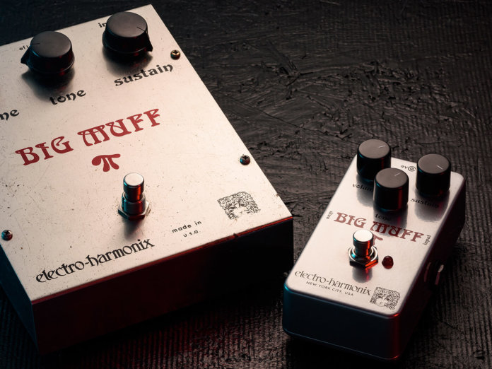The EHX Rams Head Big Muff and it's older, bigger counterpart.