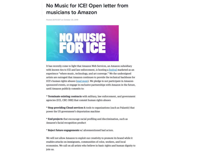 The No Music For ICE open letter