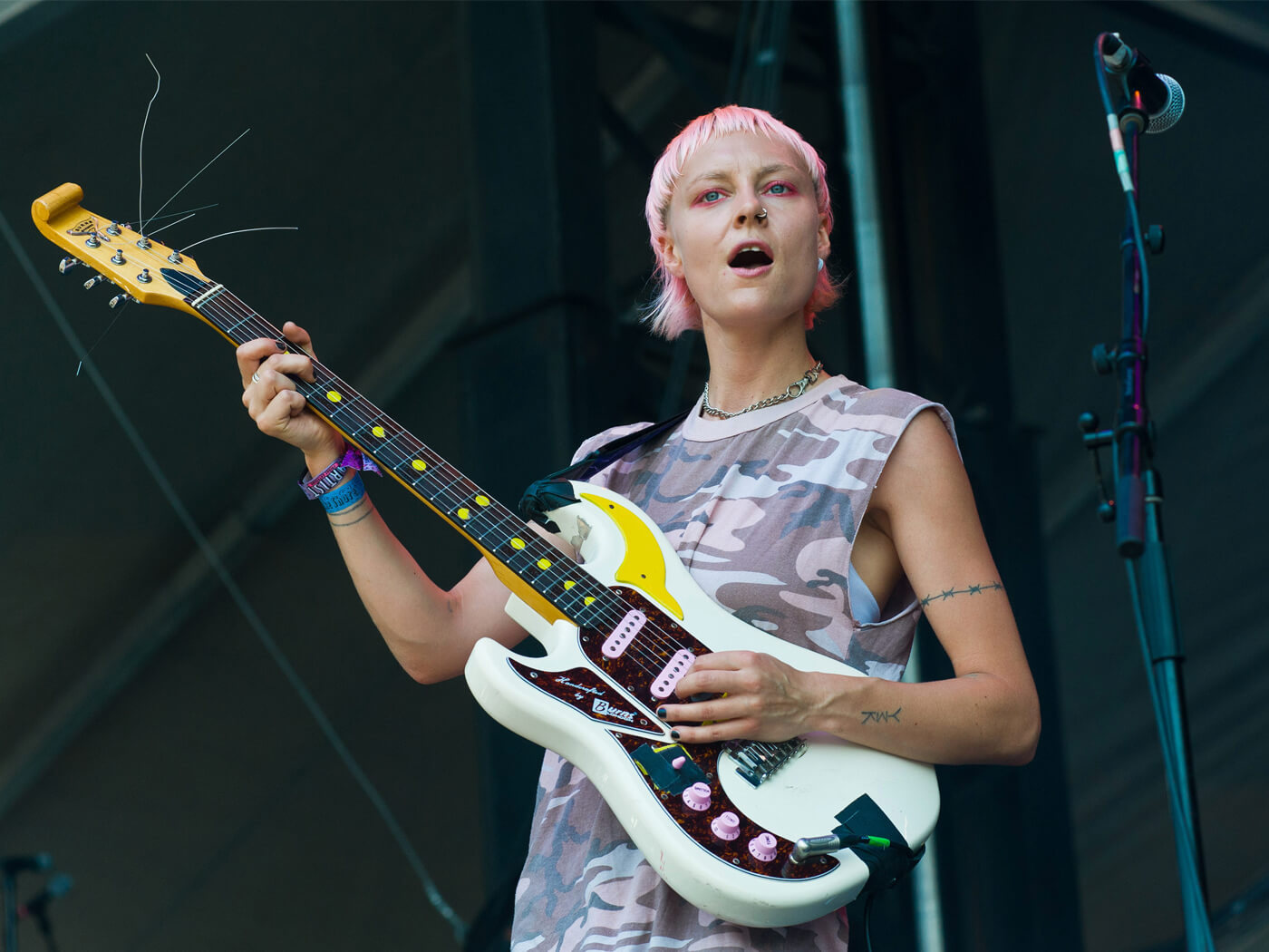 Alice Go of Dream Wife playing at Lollapalooza 2018