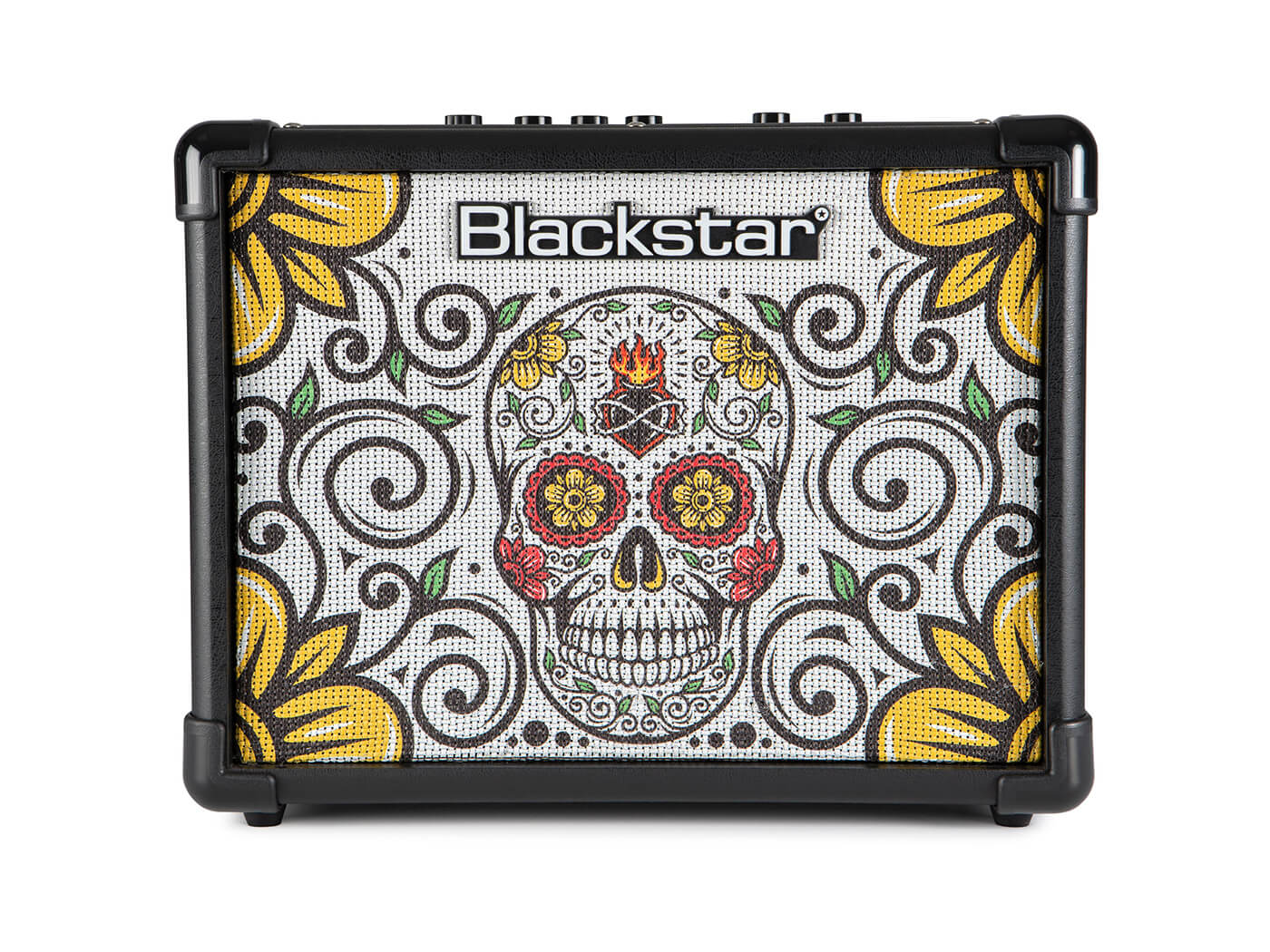 The Blackstar ID:CORE 10 V2 Sugar Skull with a Day of the dead-inspired motif