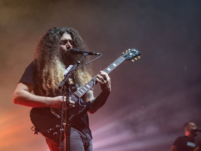 Claudio Sanchez of Coheed and Cambria performing on stage at The Masonic.